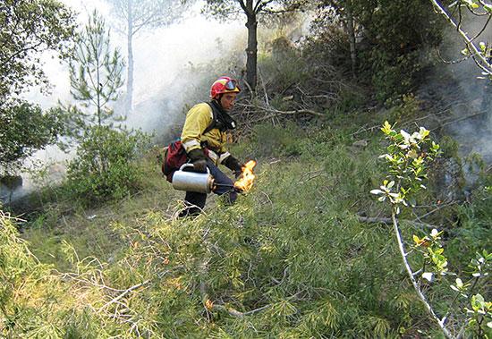 Un bomber del Grup de Recolzament a Actuacions Forestals