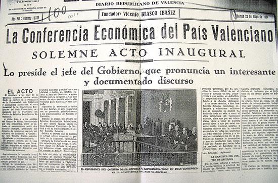 Portada del diari El Pueblo de 22 de maig de 1934 informant de l'acte d'obertura de la Conferència Econòmica.