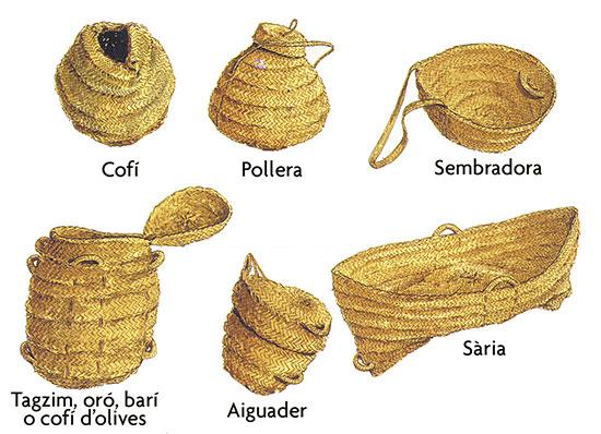 Artefactes d'espart, dibuix de X. Fornés i Llodrà. (Barber, 1997).