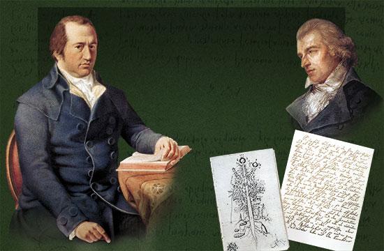A l'esquerra, Johann Wolfgang Goehe (1749-1832). A la dreta, Frederich Shiller.