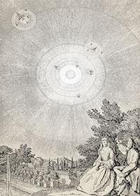 Fontenelle, en els seus Col·loquis sobre la pluralitat dels mons, explica la teoria copernicana a una jove marquesa.