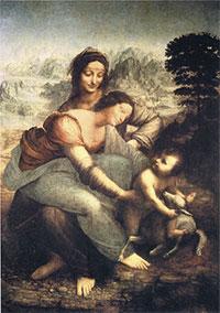 Santa Anna, la Mare de Déu i el Nen (Louvre). Representa als peus amb extraordinària precisió llits de turbudites granoclassificades (probablement del miocè) dels Apenins. Els experts hi creuen veure una representació de les dues mares de Leonardo: la biològica i la política.