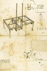 Esbós per a la representació teatral d'Orfeu baixant als inferns. Leonardo s'ofereix en carta al duc de Milà com a expert en qualsevol tasca tècnica: militar, conducció d'aigües, arquitectura, etc. A més de (i en últim terme) pintor i escultor.