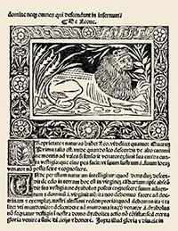 Xilografia corresponent al lleó del Libellus de natura animalium, bestiari imprès per Vincenzo Berruerio entre 1508 i 1512 a la vila piemontesa de Mondovi.
