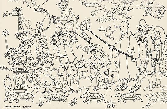 No hi ha millor exorcisme contra donyets i dimonis que armar-se d'una granera. Caro Baroja aprofita un descans per a il·lustrar la seua ponència al simposi que la Universidad de Oviedo va dedicar a Feijoo el 1964.