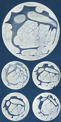 Il·lustració apareguda a El Cielo de Comas i Solà, per demostrar la subjectivitat en l'observació. A dalt, un dibuix de Mart de Maunder; a baix, quatre còpies fetes per infants del mateix dibuix a diferents distàncies.