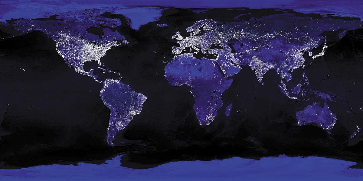 Mapa llums ciutat del món
