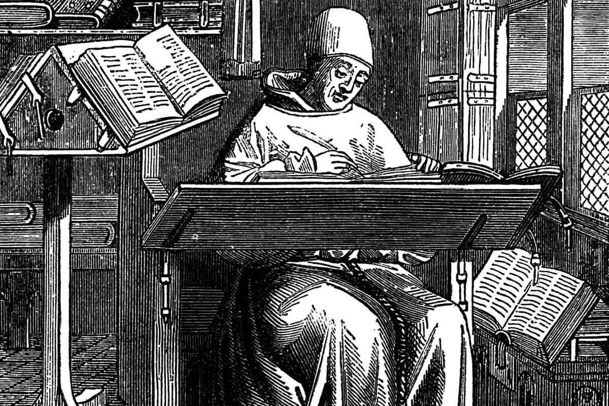 grabat d'un monjo treballant a l'scriptorium