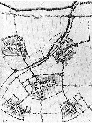 Detall dels nous assentaments agrícoles proposats per a la zona de Leslau en 1941