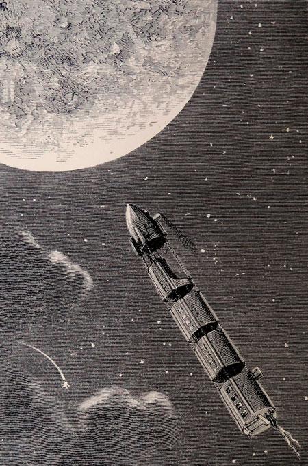 il·lustració de la terra a la lluna verne