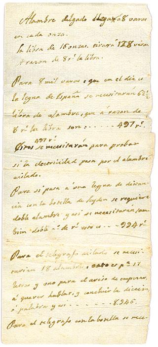 francesc salvà lista hilos cobre telégrafo