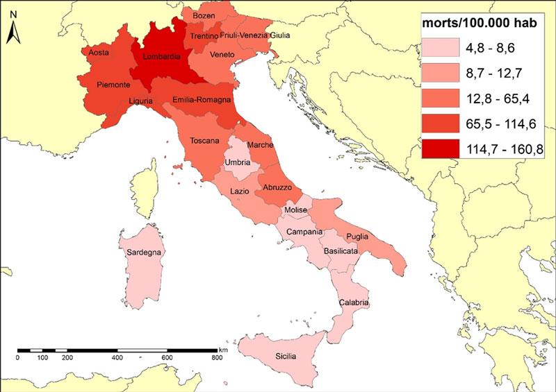 Mortalitat de la COVID-19 a Itàlia per regions juny 2020