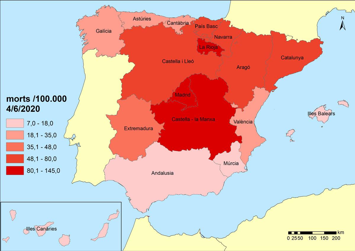 Figura 4. Mortalitat per COVID-19 a Espanya juny 2020