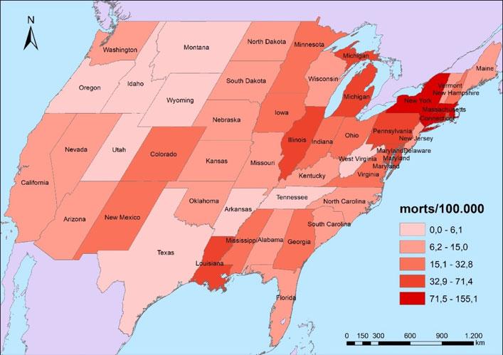 Figura 5. Mortalitat per COVID-19 als Estats Units per estats federats (4/6/2020)